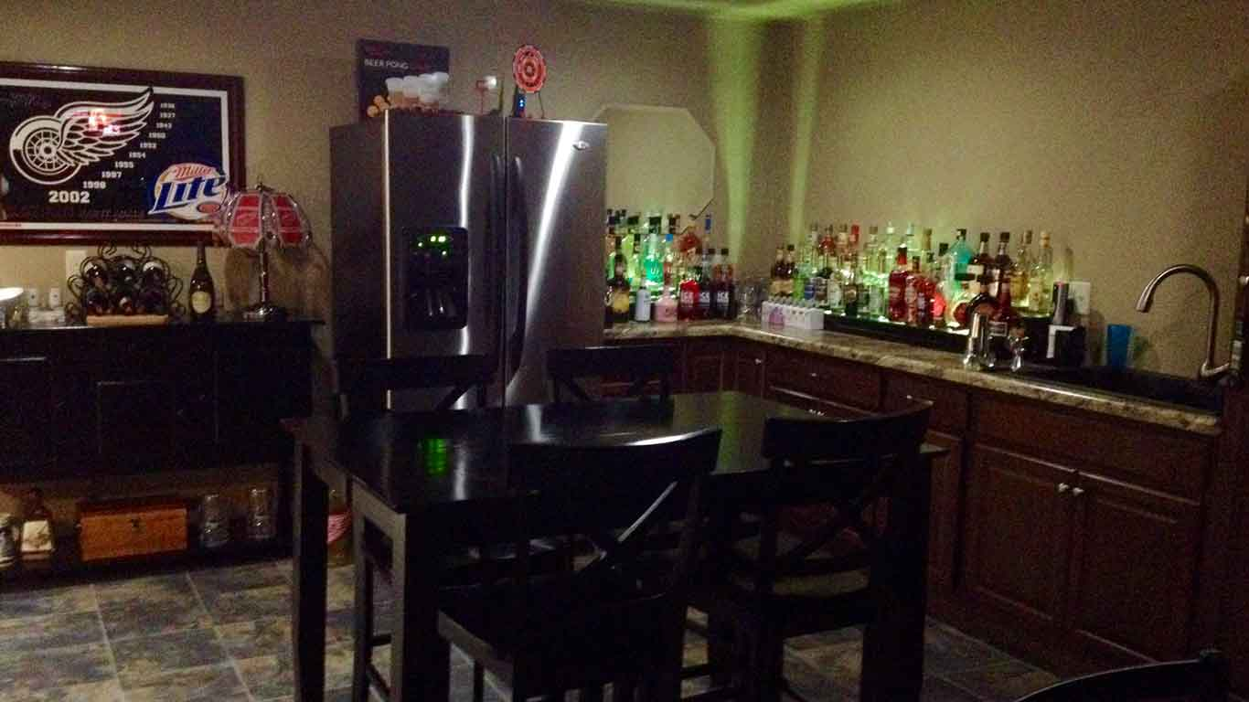 Newly finished basement with a wet bar installed