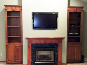 Custom made built in home entertainment center by Mischler and Sons  Construction