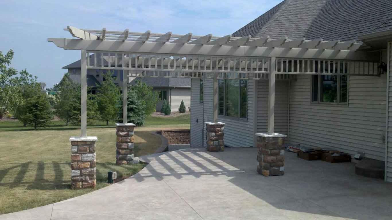 Custom vinyl pergola over patio