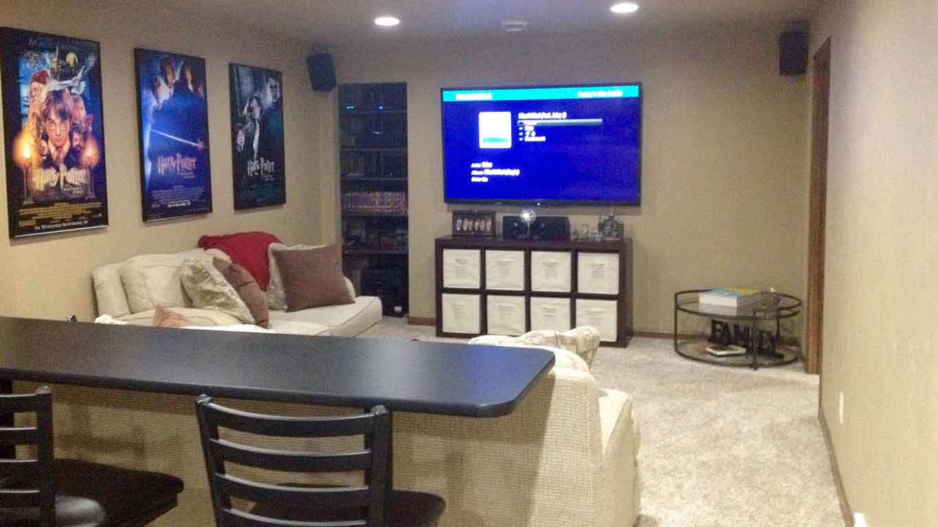Newly finished basement family room